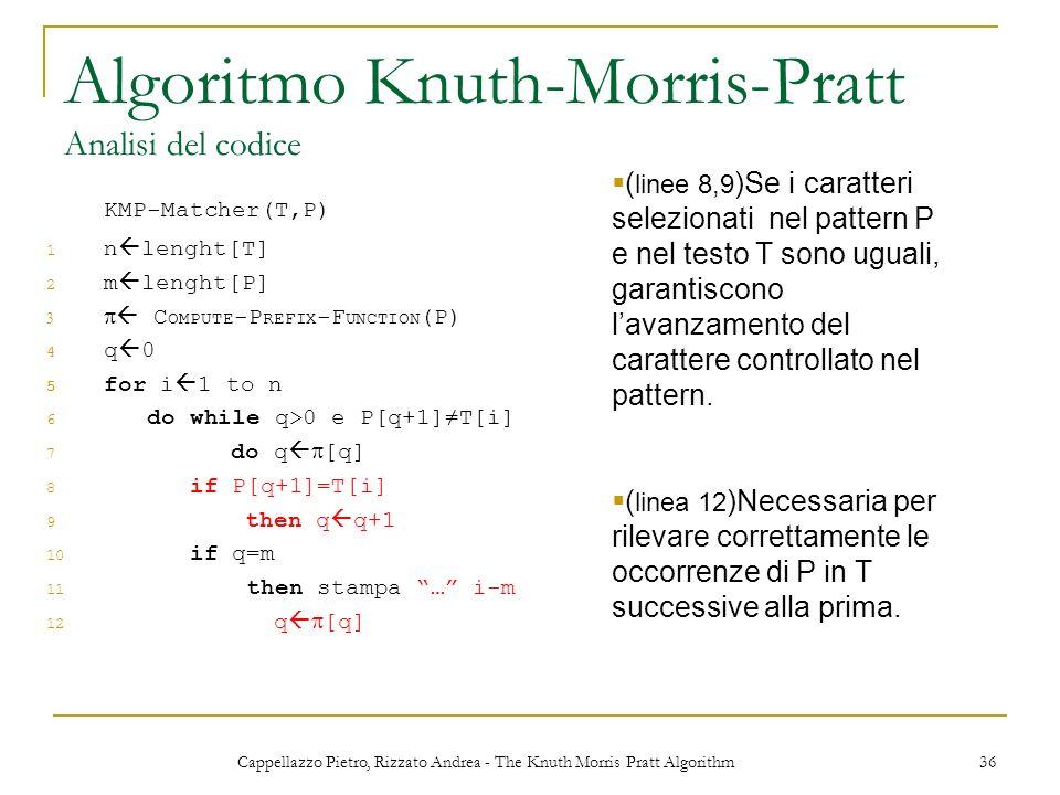 Cappellazzo Pietro, Rizzato Andrea - The Knuth Morris Pratt Algorithm 36 Algoritmo Knuth-Morris-Pratt Analisi del codice KMP-Matcher(T,P) 1 n lenght[T
