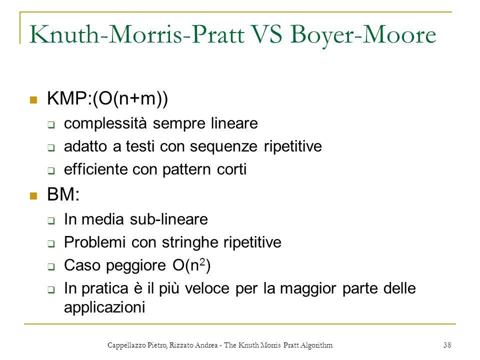 Cappellazzo Pietro, Rizzato Andrea - The Knuth Morris Pratt Algorithm 38 Knuth-Morris-Pratt VS Boyer-Moore KMP:(O(n+m)) complessità sempre lineare ada