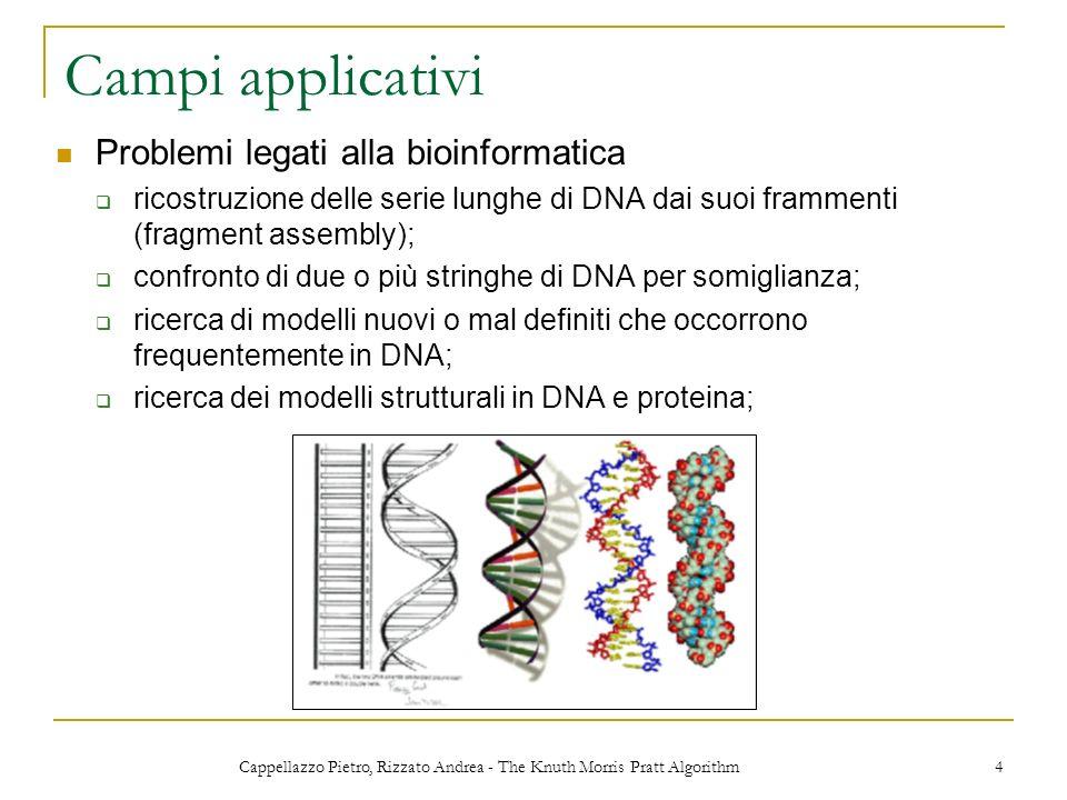 Cappellazzo Pietro, Rizzato Andrea - The Knuth Morris Pratt Algorithm 4 Campi applicativi Problemi legati alla bioinformatica ricostruzione delle seri
