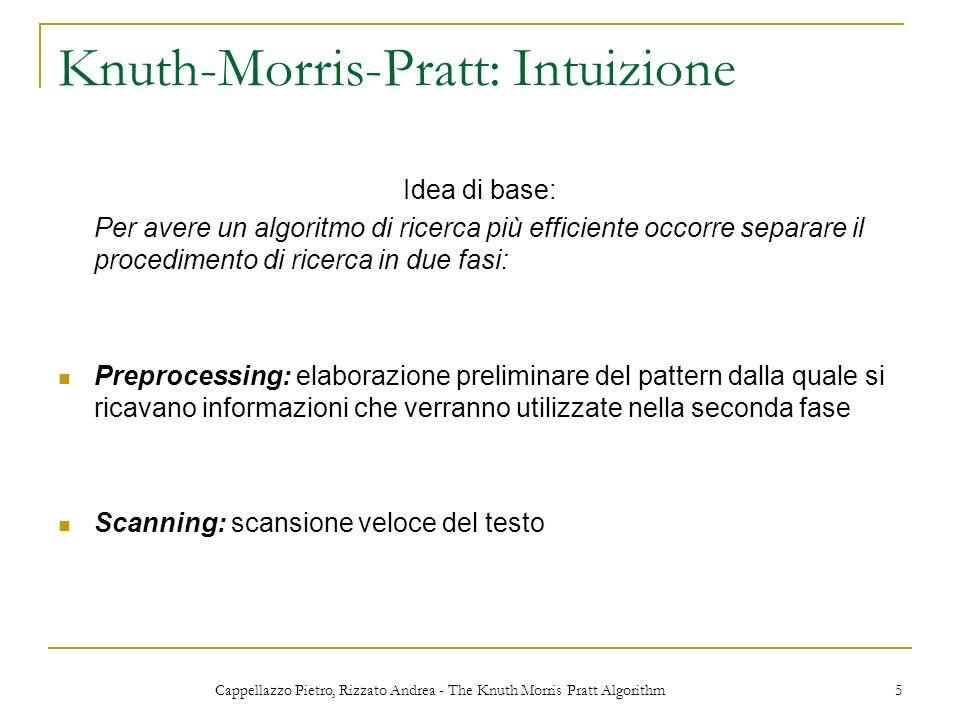 Cappellazzo Pietro, Rizzato Andrea - The Knuth Morris Pratt Algorithm 5 Knuth-Morris-Pratt: Intuizione Idea di base: Per avere un algoritmo di ricerca