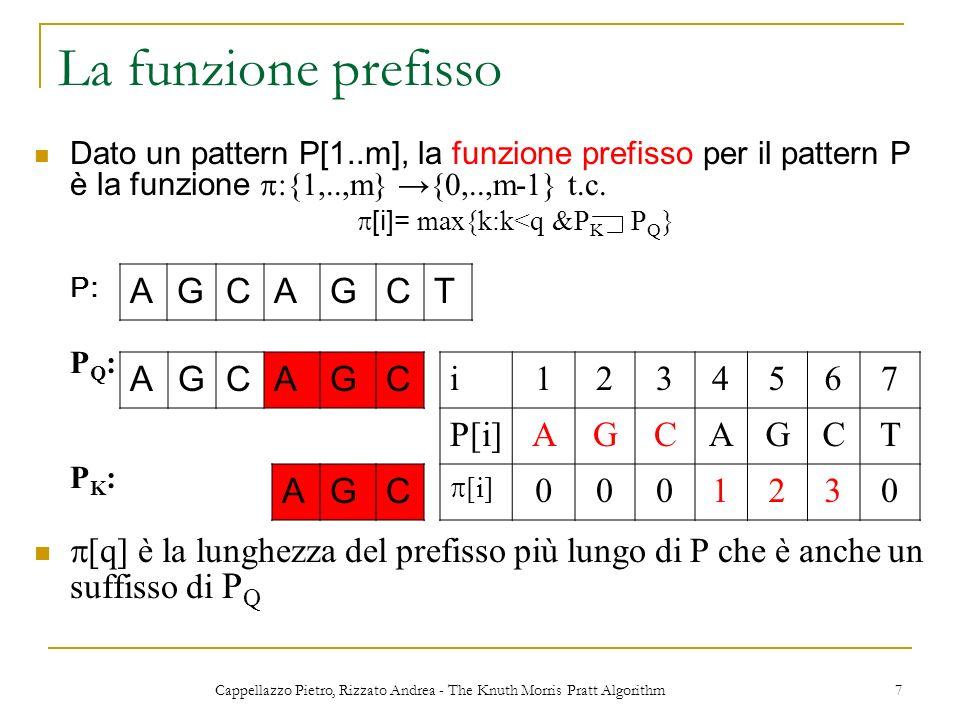 Cappellazzo Pietro, Rizzato Andrea - The Knuth Morris Pratt Algorithm 7 La funzione prefisso Dato un pattern P[1..m], la funzione prefisso per il patt
