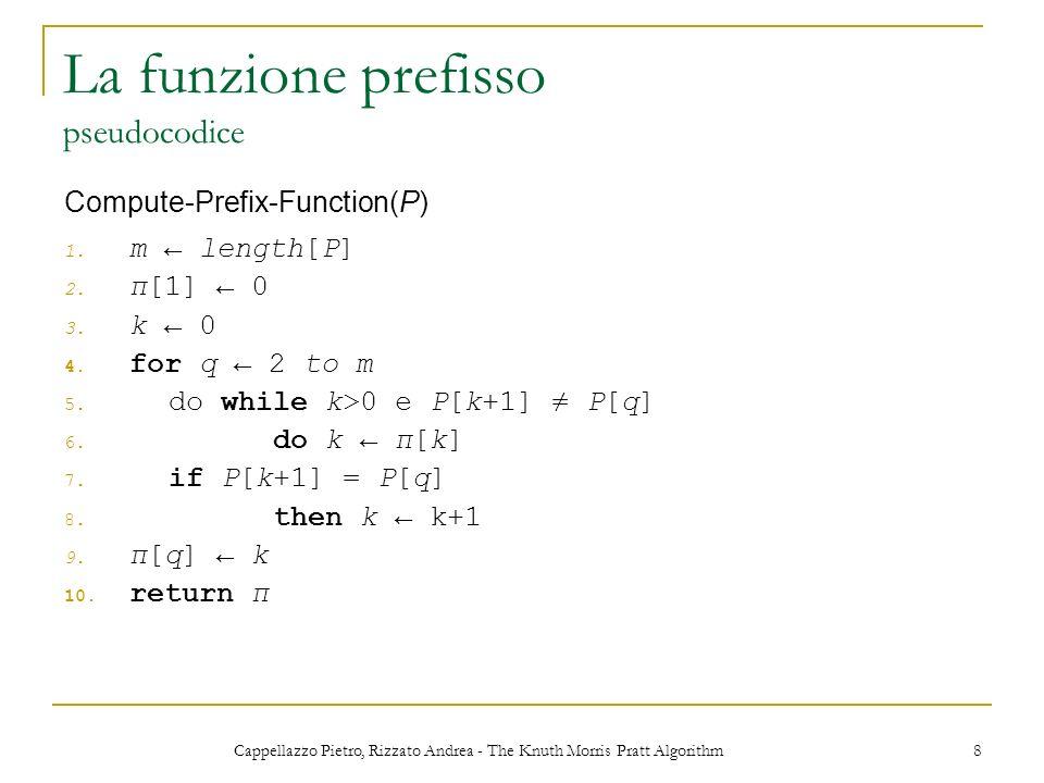 Cappellazzo Pietro, Rizzato Andrea - The Knuth Morris Pratt Algorithm 8 La funzione prefisso pseudocodice 1. m length[P] 2. π[1] 0 3. k 0 4. for q 2 t