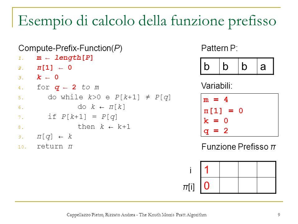Cappellazzo Pietro, Rizzato Andrea - The Knuth Morris Pratt Algorithm 9 Esempio di calcolo della funzione prefisso 1. m length[P] 2. π[1] 0 3. k 0 4.
