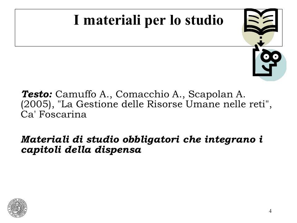 5 I materiali per lo studio Materiali di studio obbligatori che integrano i capitoli della dispensa: Capitolo 1 Brass D.