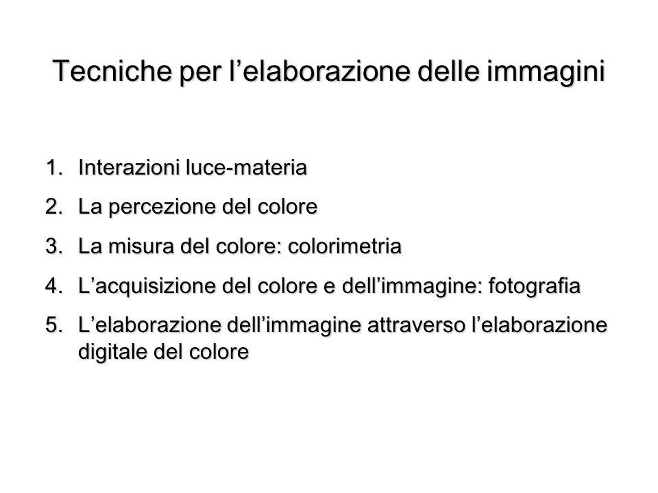 Tecniche per lelaborazione delle immagini 1.Interazioni luce-materia 2.La percezione del colore 3.La misura del colore: colorimetria 4.Lacquisizione d