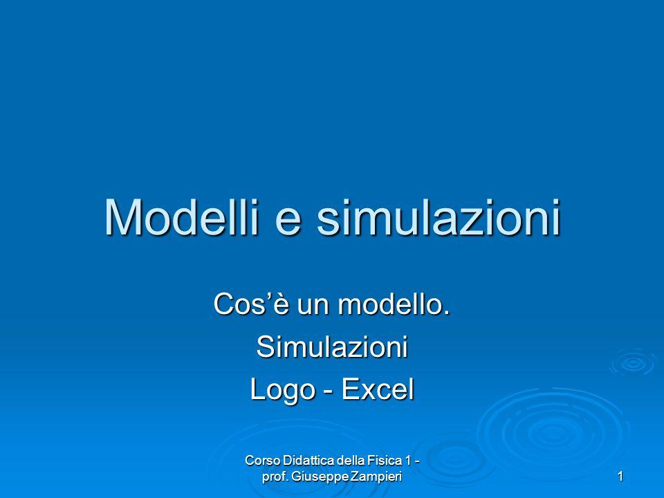 Corso Didattica della Fisica 1 - prof. Giuseppe Zampieri 1 Modelli e simulazioni Cosè un modello. Simulazioni Logo - Excel