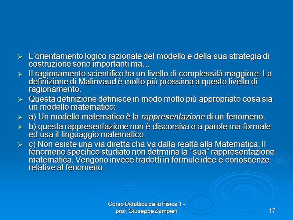 Corso Didattica della Fisica 1 - prof. Giuseppe Zampieri17 Lorientamento logico razionale del modello e della sua strategia di costruzione sono import