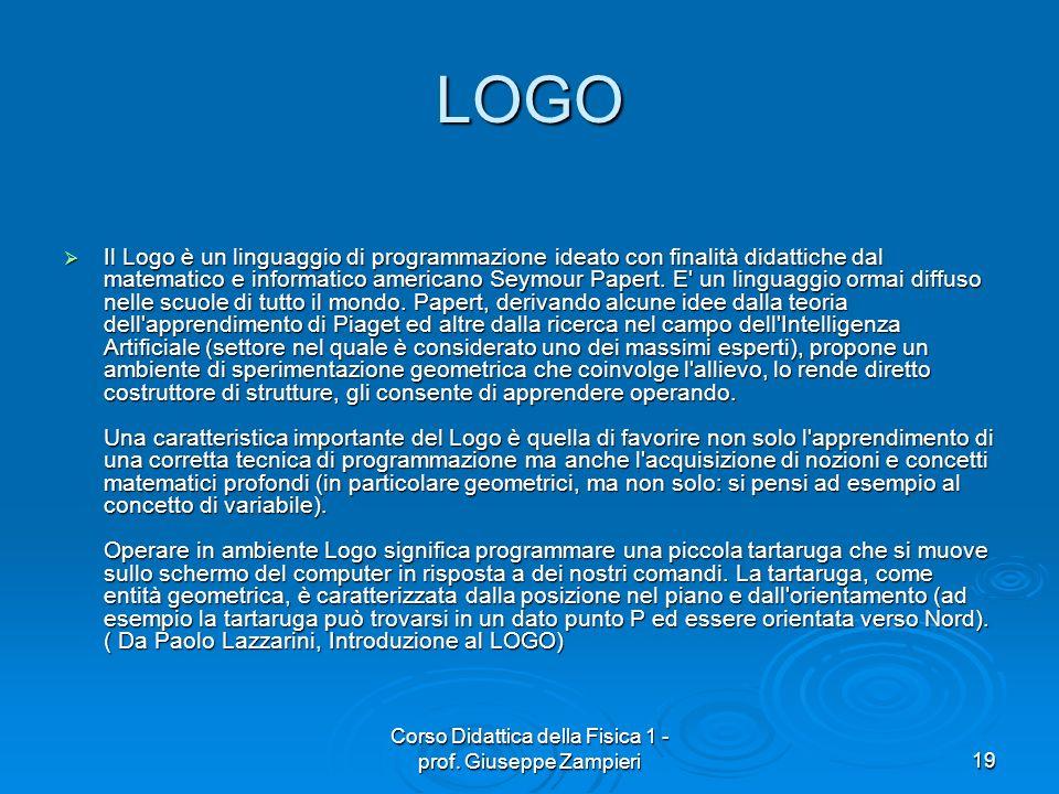 Corso Didattica della Fisica 1 - prof. Giuseppe Zampieri19 LOGO Il Logo è un linguaggio di programmazione ideato con finalità didattiche dal matematic