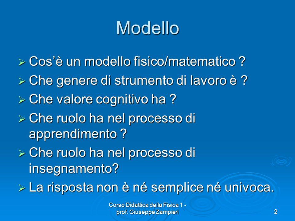 Corso Didattica della Fisica 1 - prof. Giuseppe Zampieri2 Modello Cosè un modello fisico/matematico ? Cosè un modello fisico/matematico ? Che genere d