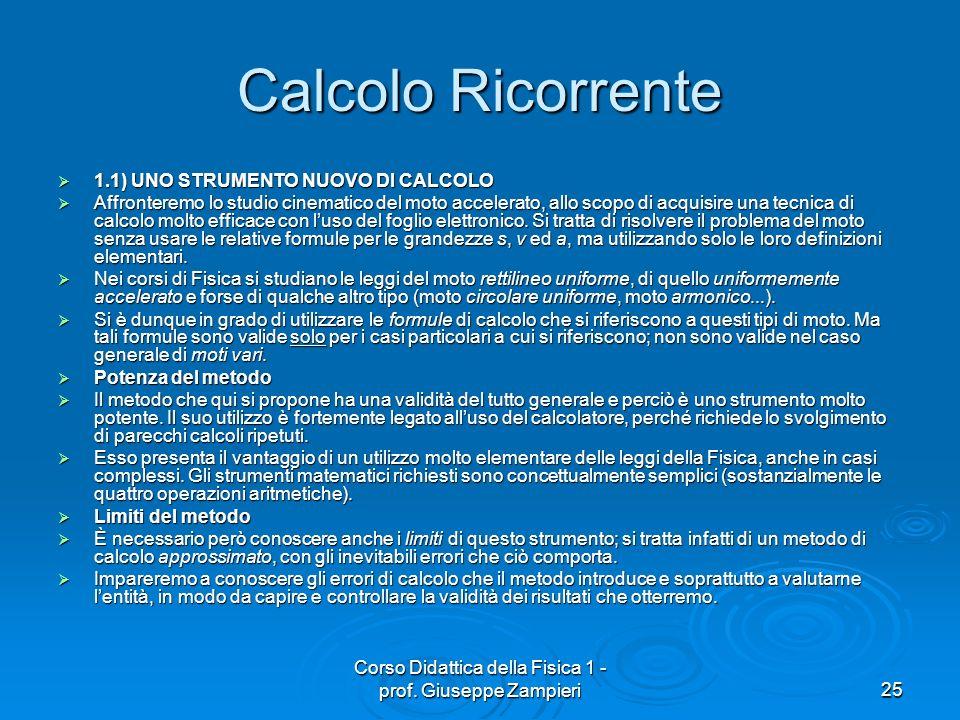 Corso Didattica della Fisica 1 - prof. Giuseppe Zampieri25 Calcolo Ricorrente 1.1) UNO STRUMENTO NUOVO DI CALCOLO 1.1) UNO STRUMENTO NUOVO DI CALCOLO