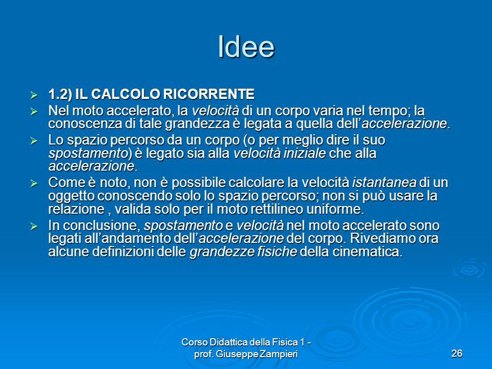 Corso Didattica della Fisica 1 - prof. Giuseppe Zampieri26 Idee 1.2) IL CALCOLO RICORRENTE 1.2) IL CALCOLO RICORRENTE Nel moto accelerato, la velocità