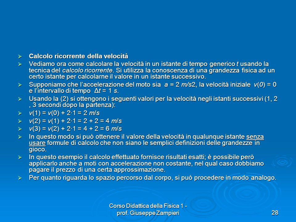 Corso Didattica della Fisica 1 - prof. Giuseppe Zampieri28 Calcolo ricorrente della velocità Calcolo ricorrente della velocità Vediamo ora come calcol