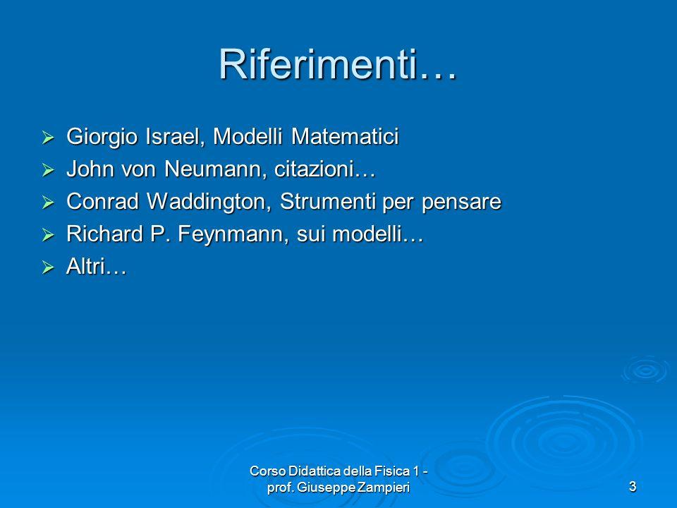 Corso Didattica della Fisica 1 - prof. Giuseppe Zampieri3 Riferimenti… Giorgio Israel, Modelli Matematici Giorgio Israel, Modelli Matematici John von