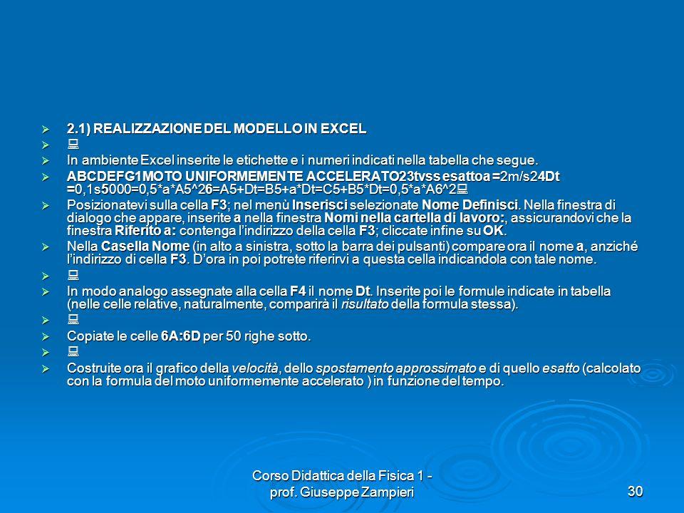 Corso Didattica della Fisica 1 - prof. Giuseppe Zampieri30 2.1) REALIZZAZIONE DEL MODELLO IN EXCEL 2.1) REALIZZAZIONE DEL MODELLO IN EXCEL In ambiente
