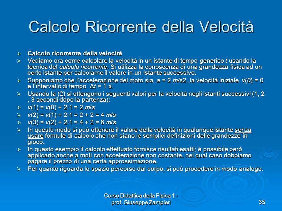Corso Didattica della Fisica 1 - prof. Giuseppe Zampieri35 Calcolo Ricorrente della Velocità Calcolo ricorrente della velocità Calcolo ricorrente dell