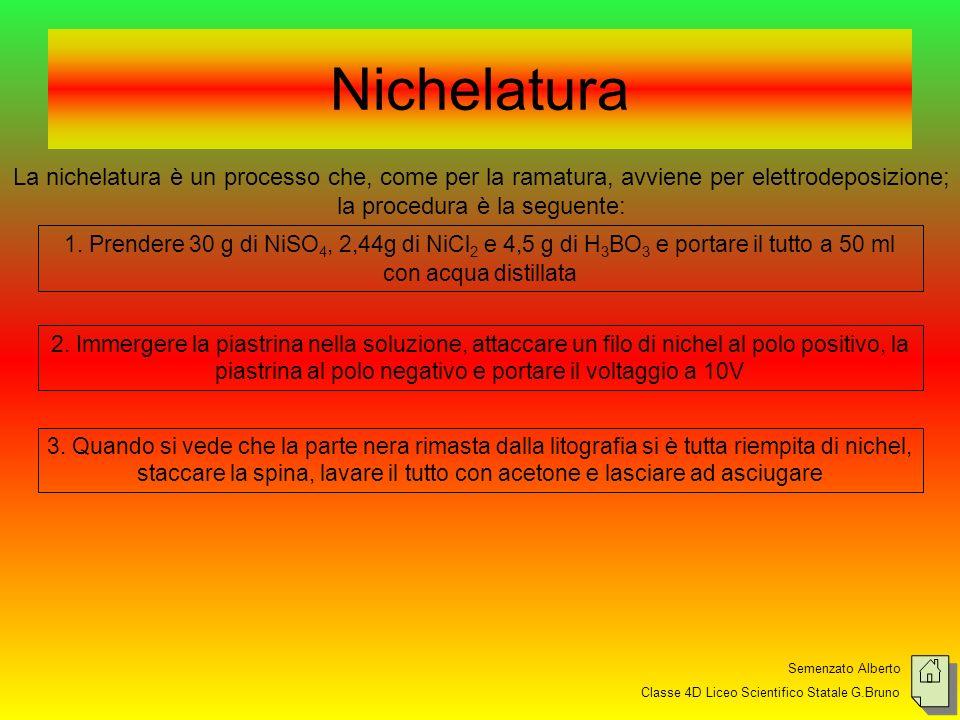 Semenzato Alberto Classe 4D Liceo Scientifico Statale G.Bruno Nichelatura La nichelatura è un processo che, come per la ramatura, avviene per elettrodeposizione; la procedura è la seguente: 1.