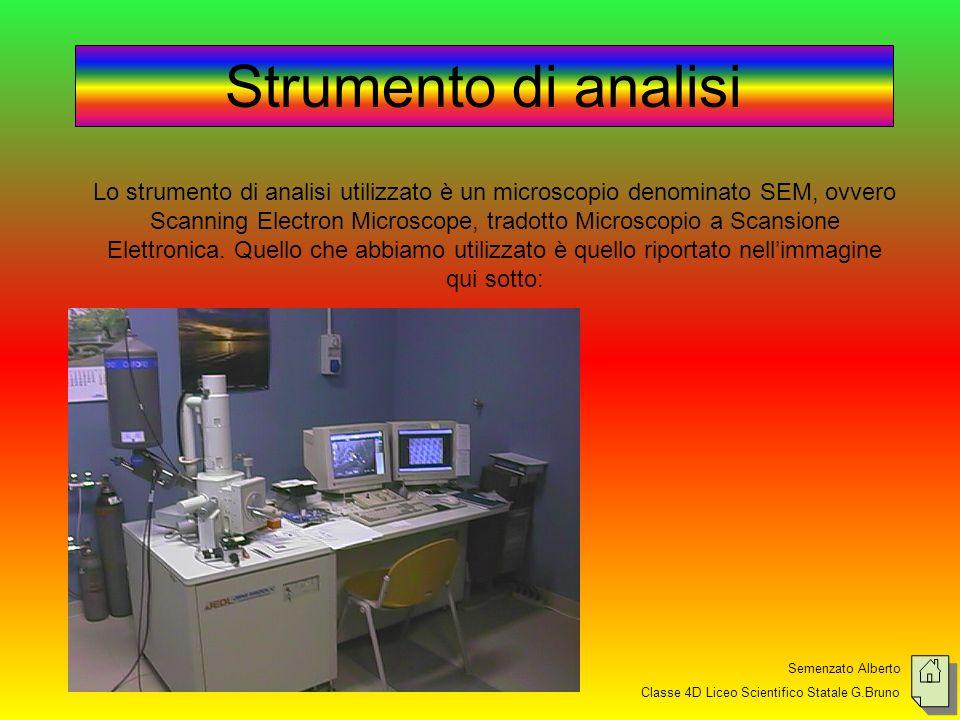 Semenzato Alberto Classe 4D Liceo Scientifico Statale G.Bruno Strumento di analisi Lo strumento di analisi utilizzato è un microscopio denominato SEM, ovvero Scanning Electron Microscope, tradotto Microscopio a Scansione Elettronica.