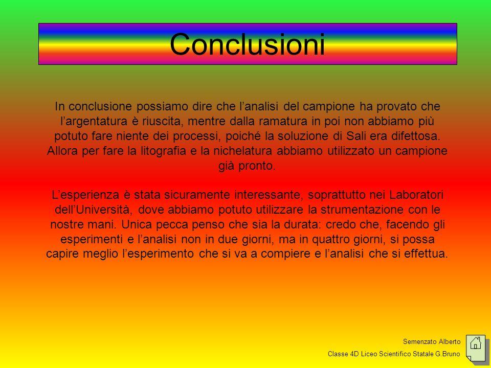 Semenzato Alberto Classe 4D Liceo Scientifico Statale G.Bruno Conclusioni In conclusione possiamo dire che lanalisi del campione ha provato che largen