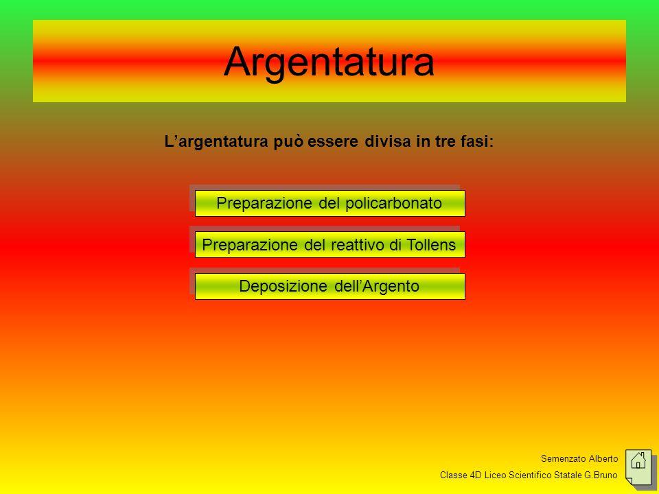 Semenzato Alberto Classe 4D Liceo Scientifico Statale G.Bruno Argentatura Largentatura può essere divisa in tre fasi: Preparazione del policarbonato P