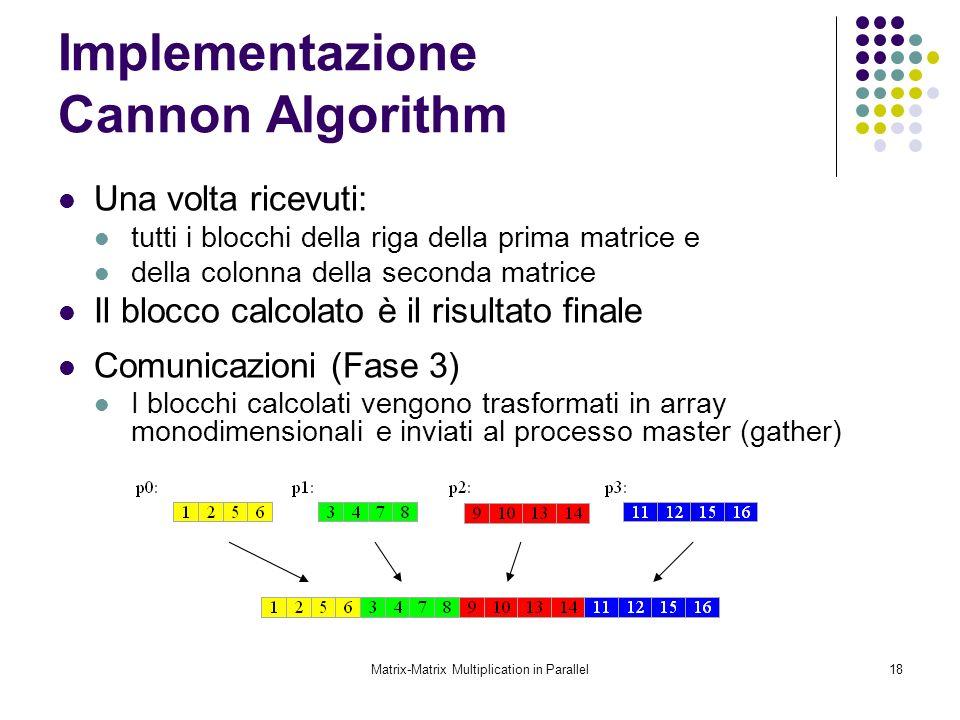 Matrix-Matrix Multiplication in Parallel18 Implementazione Cannon Algorithm Una volta ricevuti: tutti i blocchi della riga della prima matrice e della