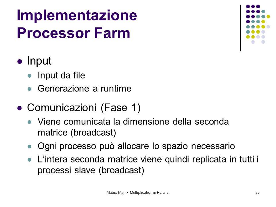 Matrix-Matrix Multiplication in Parallel20 Implementazione Processor Farm Input Input da file Generazione a runtime Comunicazioni (Fase 1) Viene comun