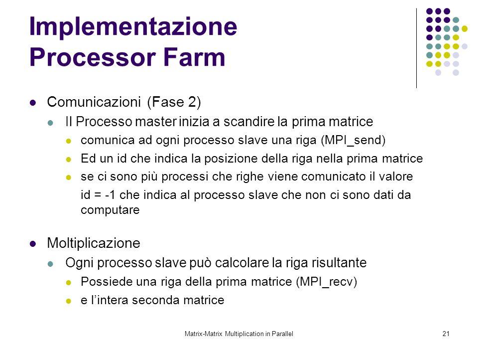 Matrix-Matrix Multiplication in Parallel21 Implementazione Processor Farm Comunicazioni (Fase 2) Il Processo master inizia a scandire la prima matrice