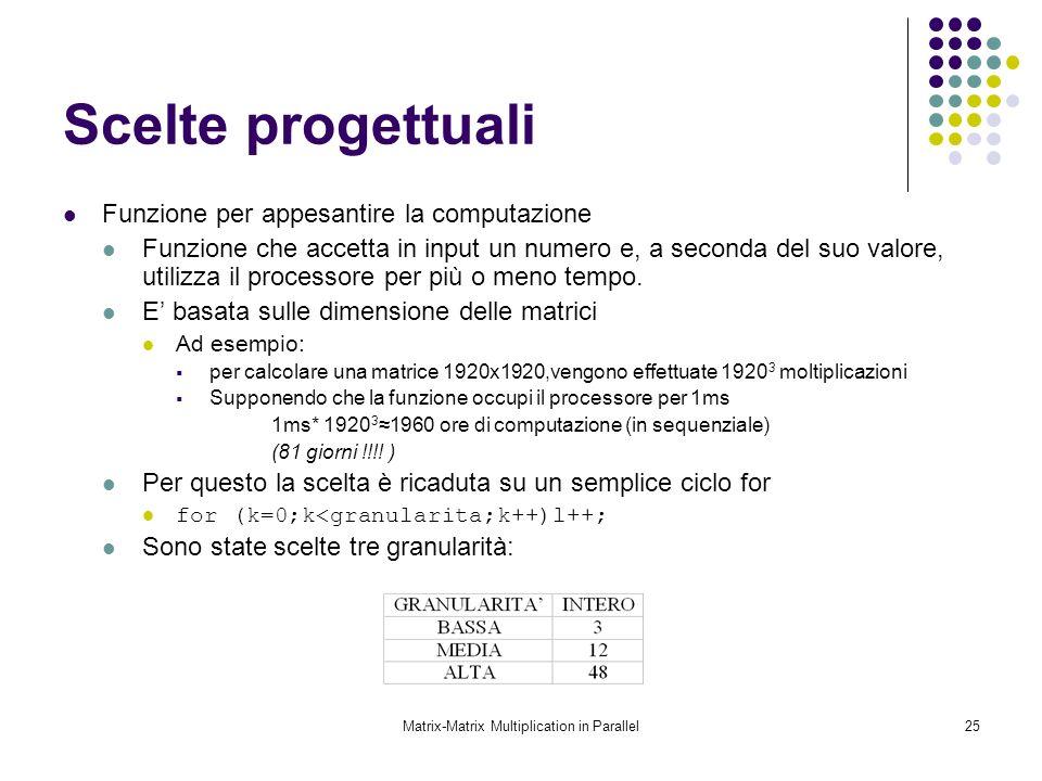Matrix-Matrix Multiplication in Parallel25 Scelte progettuali Funzione per appesantire la computazione Funzione che accetta in input un numero e, a se