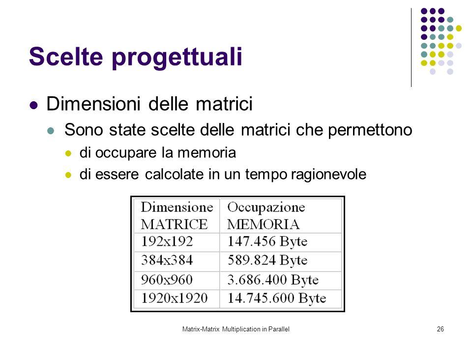 Matrix-Matrix Multiplication in Parallel26 Scelte progettuali Dimensioni delle matrici Sono state scelte delle matrici che permettono di occupare la m