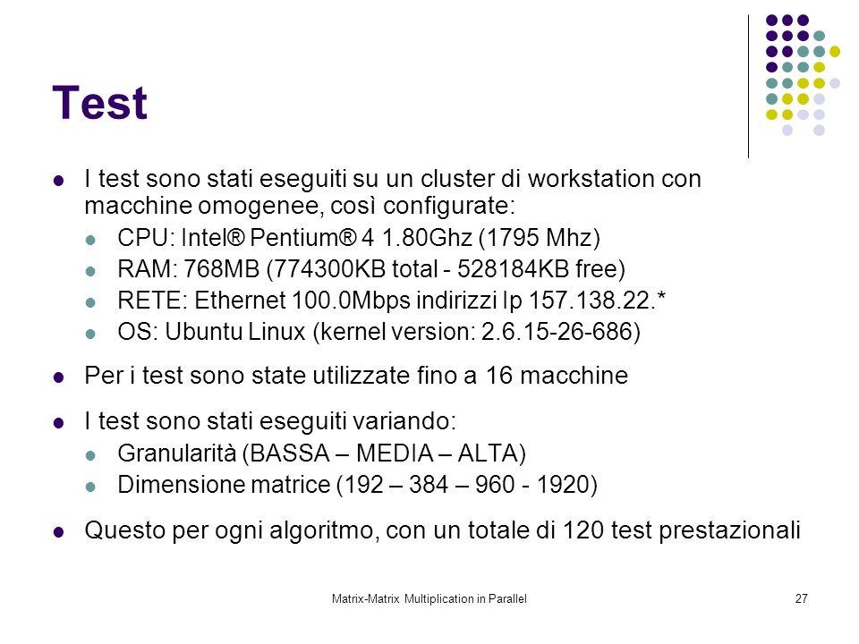 Matrix-Matrix Multiplication in Parallel27 Test I test sono stati eseguiti su un cluster di workstation con macchine omogenee, così configurate: CPU: