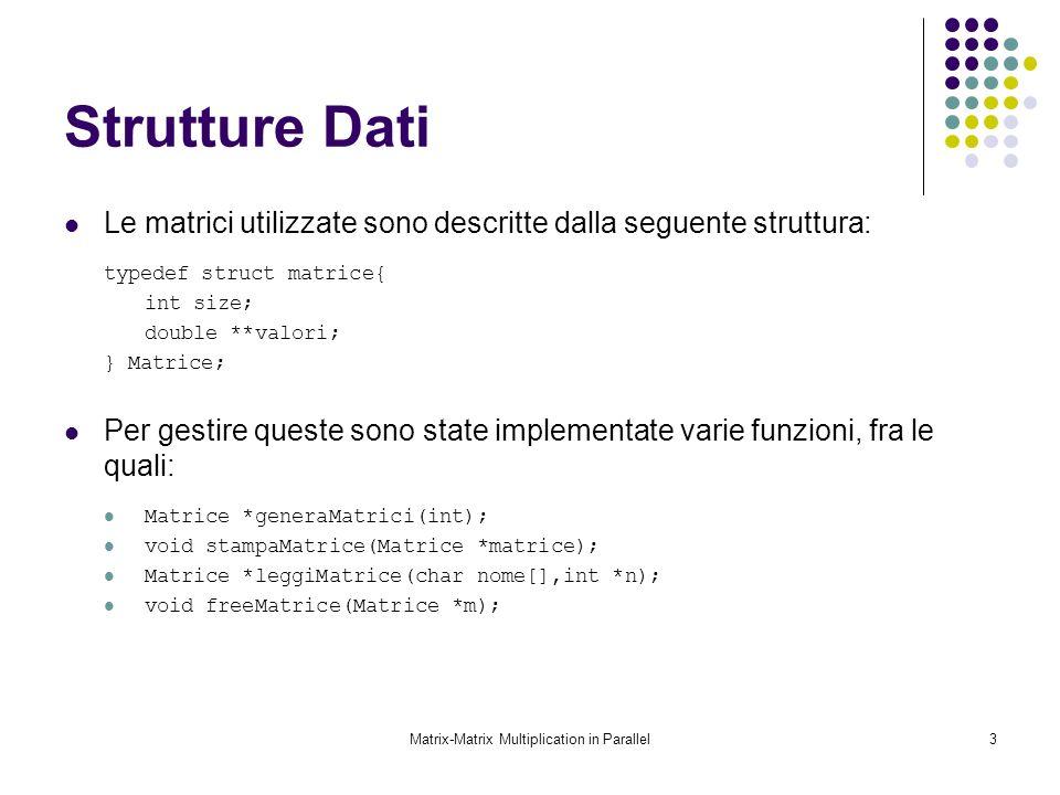 Matrix-Matrix Multiplication in Parallel3 Strutture Dati Le matrici utilizzate sono descritte dalla seguente struttura: typedef struct matrice{ int si