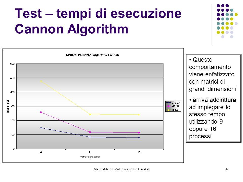 Matrix-Matrix Multiplication in Parallel32 Test – tempi di esecuzione Cannon Algorithm Questo comportamento viene enfatizzato con matrici di grandi di
