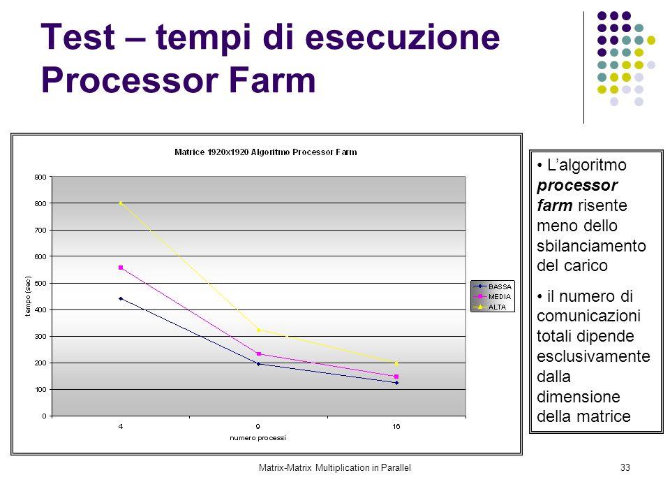 Matrix-Matrix Multiplication in Parallel33 Test – tempi di esecuzione Processor Farm Lalgoritmo processor farm risente meno dello sbilanciamento del c
