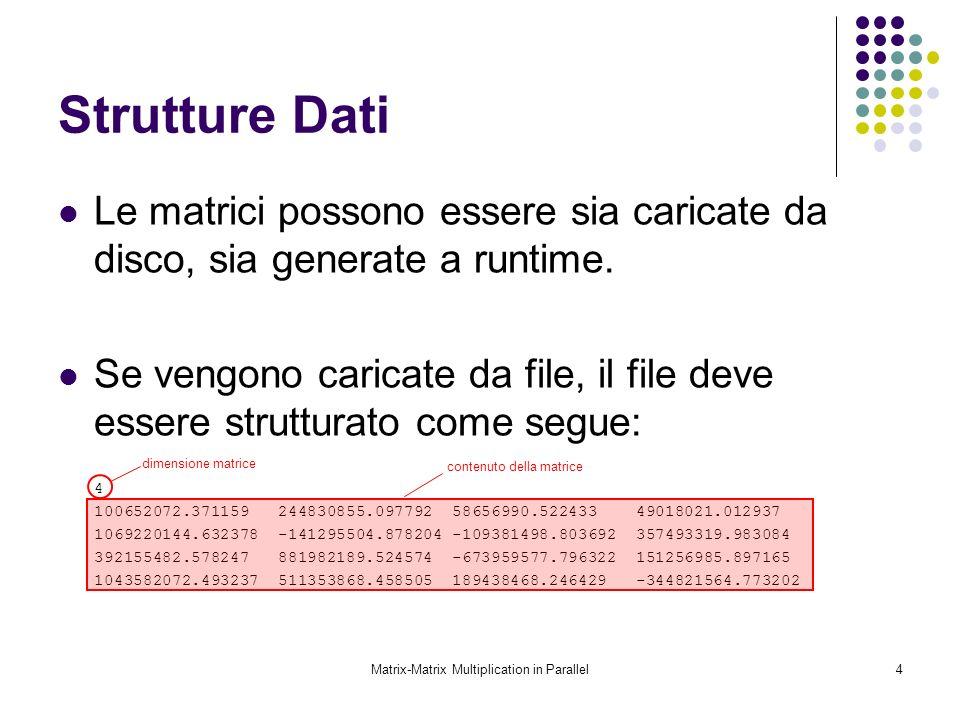 Matrix-Matrix Multiplication in Parallel4 Strutture Dati Le matrici possono essere sia caricate da disco, sia generate a runtime. Se vengono caricate