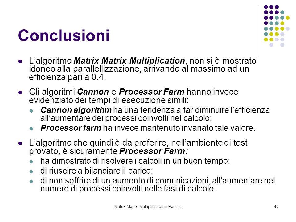 Matrix-Matrix Multiplication in Parallel40 Conclusioni Lalgoritmo Matrix Matrix Multiplication, non si è mostrato idoneo alla parallellizzazione, arri