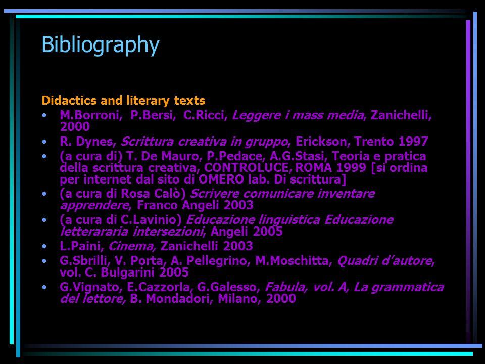 Bibliography Didactics and literary texts M.Borroni, P.Bersi, C.Ricci, Leggere i mass media, Zanichelli, 2000 R. Dynes, Scrittura creativa in gruppo,