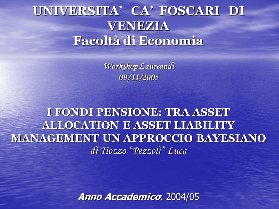 UNIVERSITA CA FOSCARI DI VENEZIA Facoltà di Economia Workshop Laureandi 09/11/2005 I FONDI PENSIONE: TRA ASSET ALLOCATION E ASSET LIABILITY MANAGEMENT UN APPROCCIO BAYESIANO di Tiozzo Pezzoli Luca Anno Accademico: 2004/05