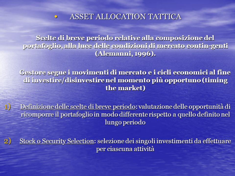 ASSET ALLOCATION TATTICA ASSET ALLOCATION TATTICA Scelte di breve periodo relative alla composizione del portafoglio, alla luce delle condizioni di mercato contin-genti (Alemanni, 1996).