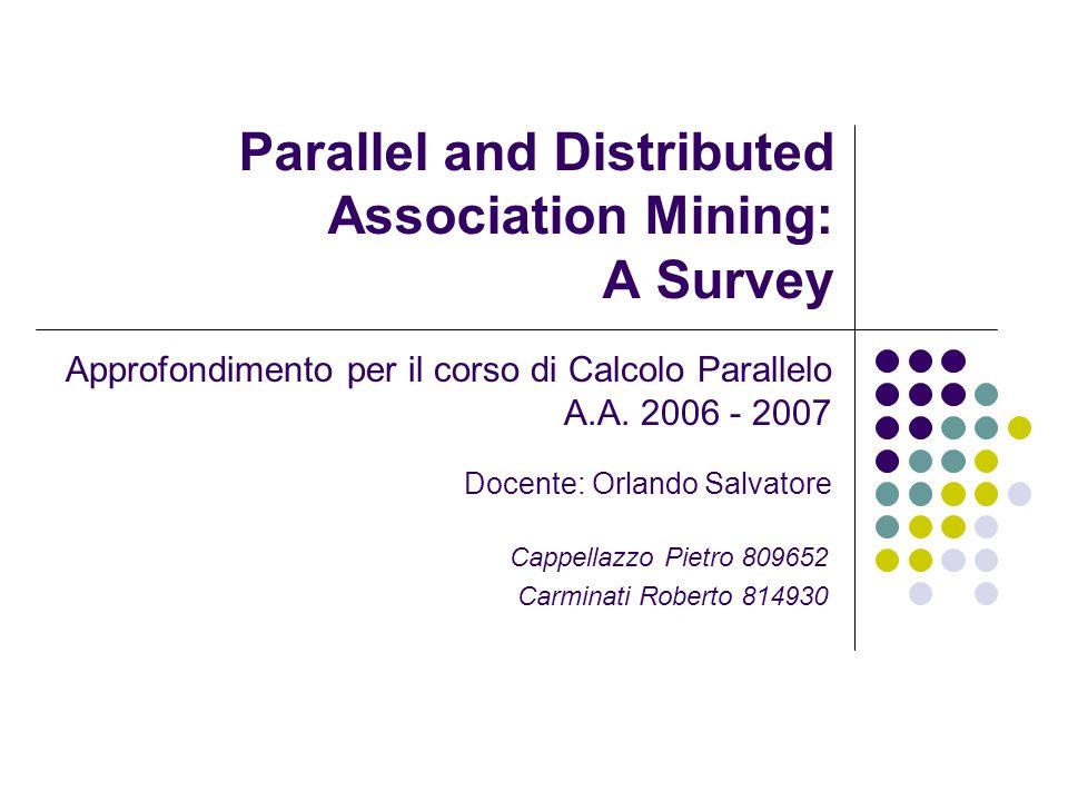 Data Distribution - Algoritmo - Nel primo passo (K=1)come in Count Distribution: P i dinamicamente genera il proprio candidate itemset C i 1,dai valori presenti nella partizione di database locale D i.