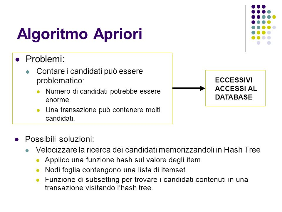 Algoritmo Apriori Possibili soluzioni: Velocizzare la ricerca dei candidati memorizzandoli in Hash Tree Applico una funzione hash sul valore degli item.