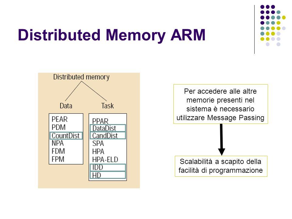 Distributed Memory ARM Per accedere alle altre memorie presenti nel sistema è necessario utilizzare Message Passing Scalabilità a scapito della facili