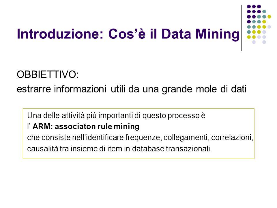 OBBIETTIVO: estrarre informazioni utili da una grande mole di dati Una delle attività più importanti di questo processo è l ARM: associaton rule minin