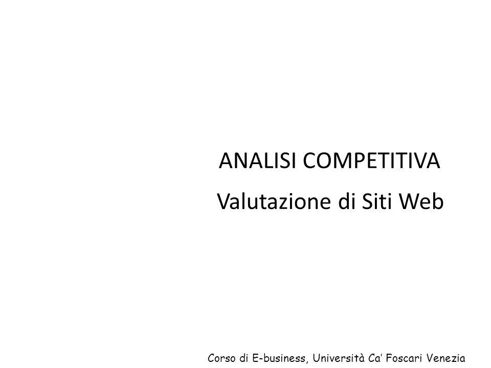 ANALISI COMPETITIVA Valutazione di Siti Web Corso di E-business, Università Ca Foscari Venezia