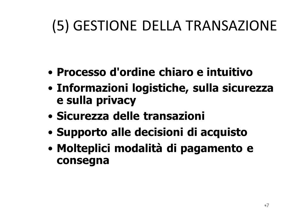 (5) GESTIONE DELLA TRANSAZIONE 7 Processo d'ordine chiaro e intuitivo Informazioni logistiche, sulla sicurezza e sulla privacy Sicurezza delle transaz