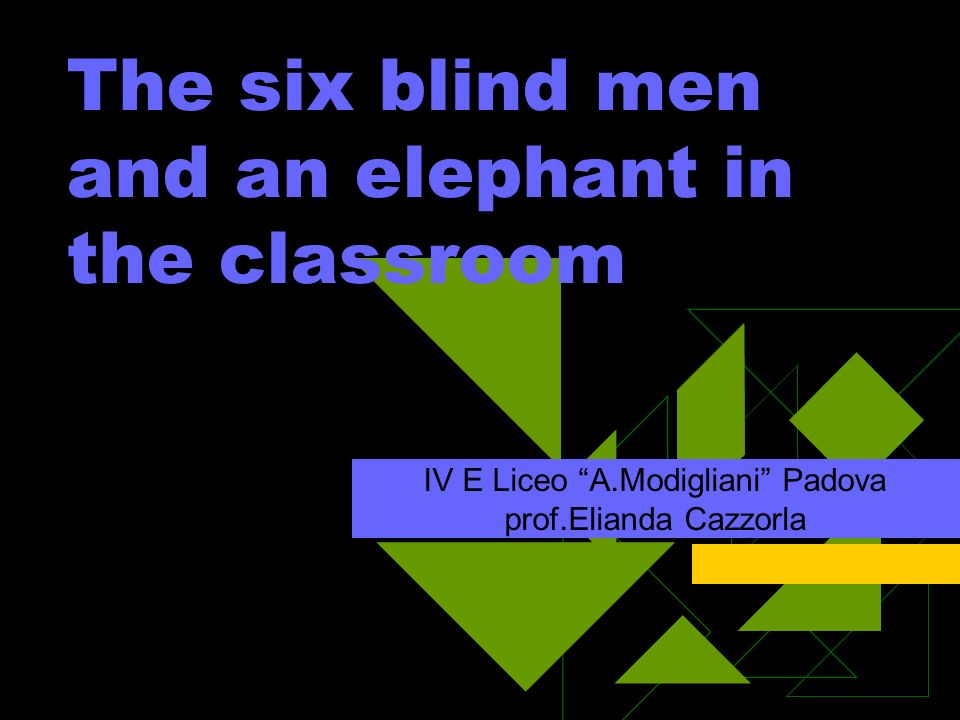 The six blind men and an elephant in the classroom IV E Liceo A.Modigliani Padova prof.Elianda Cazzorla
