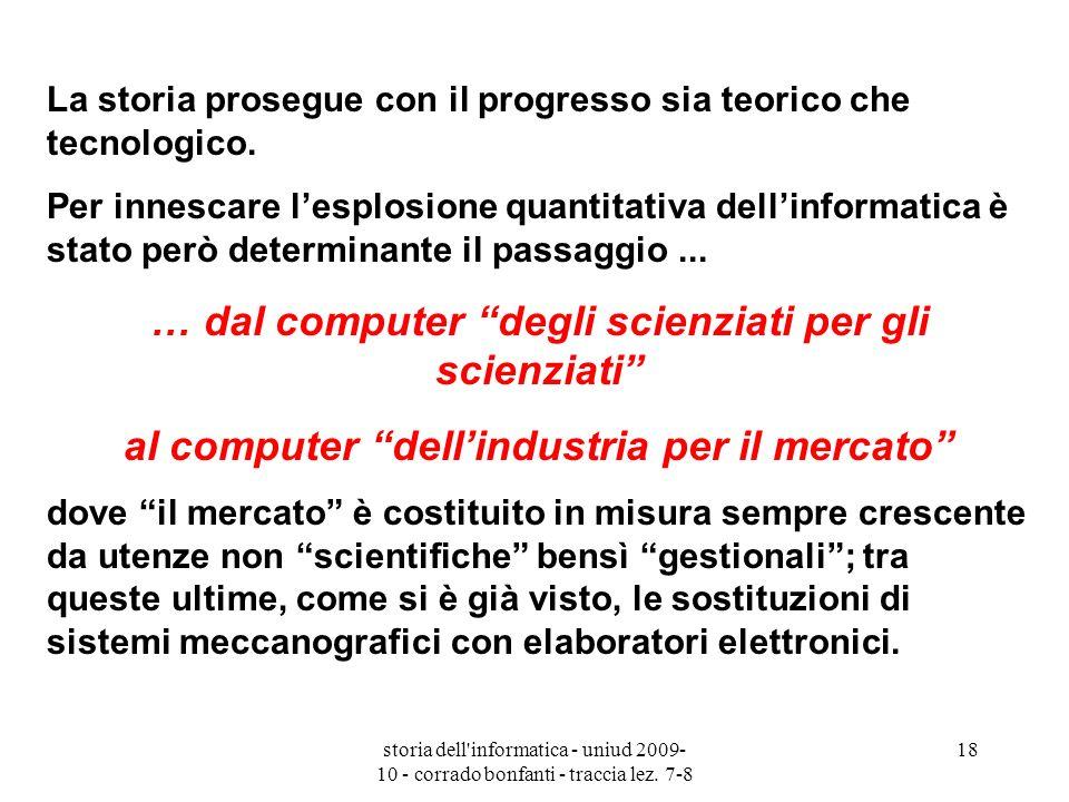 storia dell'informatica - uniud 2009- 10 - corrado bonfanti - traccia lez. 7-8 18 La storia prosegue con il progresso sia teorico che tecnologico. Per