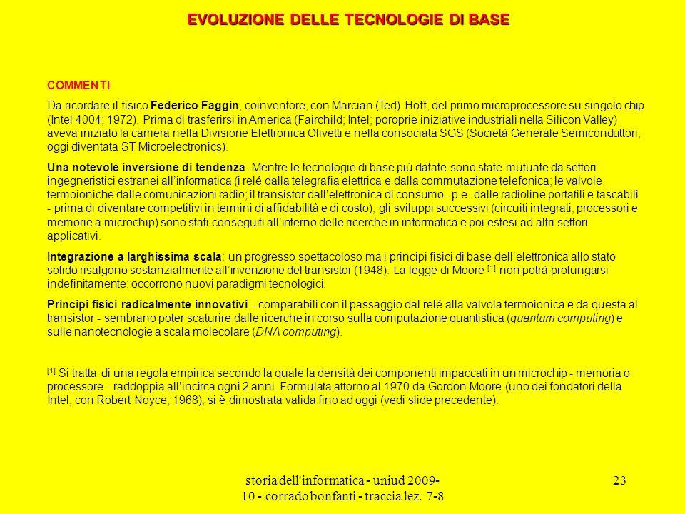 storia dell'informatica - uniud 2009- 10 - corrado bonfanti - traccia lez. 7-8 23 COMMENTI Da ricordare il fisico Federico Faggin, coinventore, con Ma