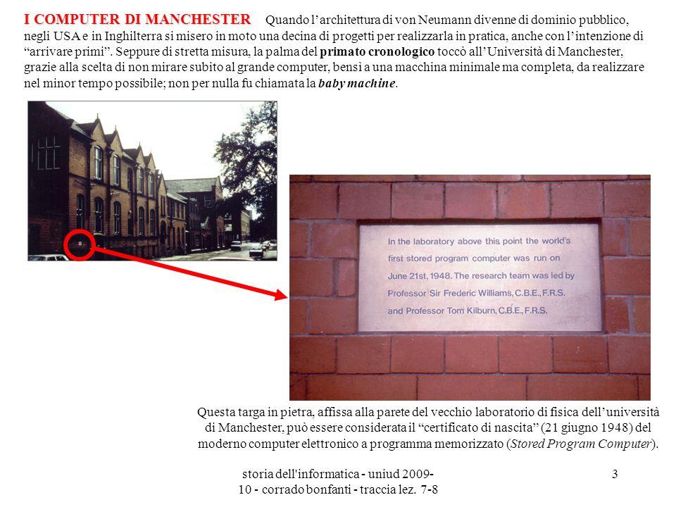 storia dell'informatica - uniud 2009- 10 - corrado bonfanti - traccia lez. 7-8 3 Questa targa in pietra, affissa alla parete del vecchio laboratorio d