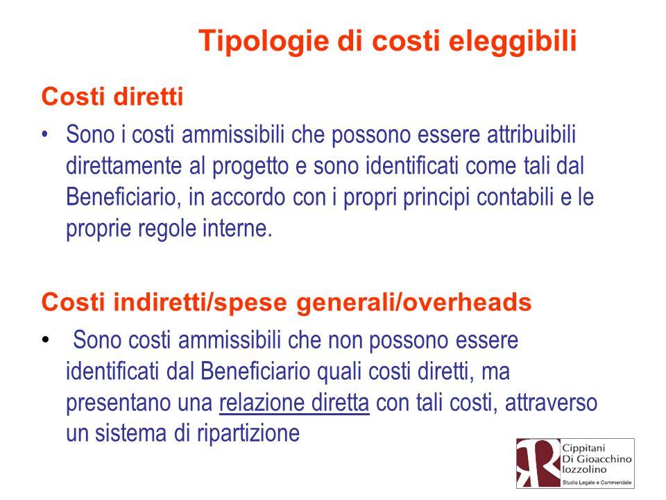 Costi diretti Sono i costi ammissibili che possono essere attribuibili direttamente al progetto e sono identificati come tali dal Beneficiario, in acc