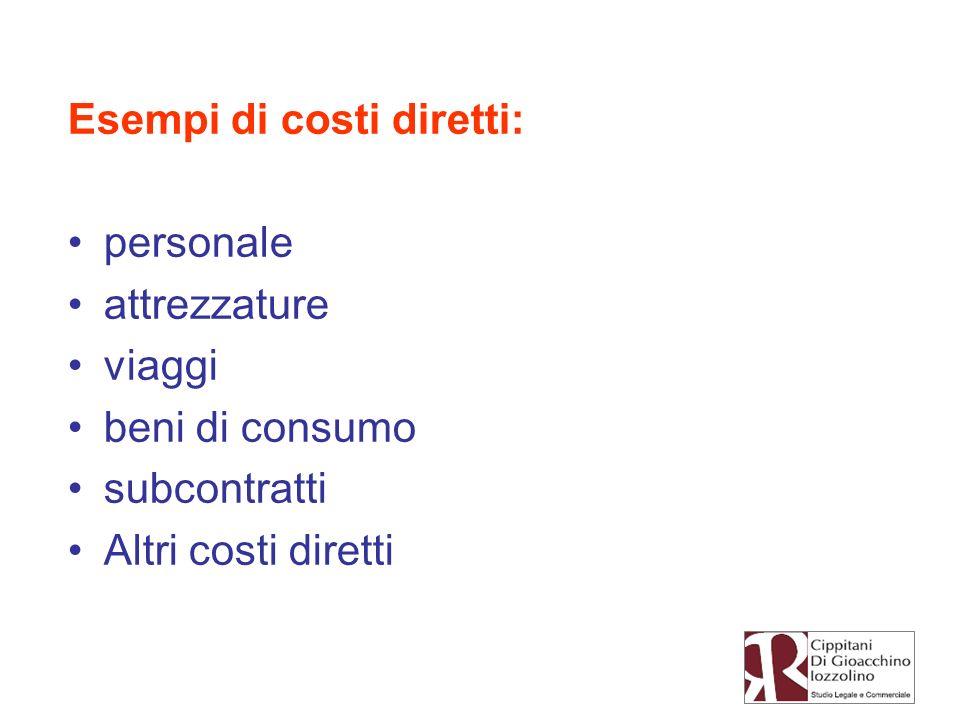 Esempi di costi diretti: personale attrezzature viaggi beni di consumo subcontratti Altri costi diretti