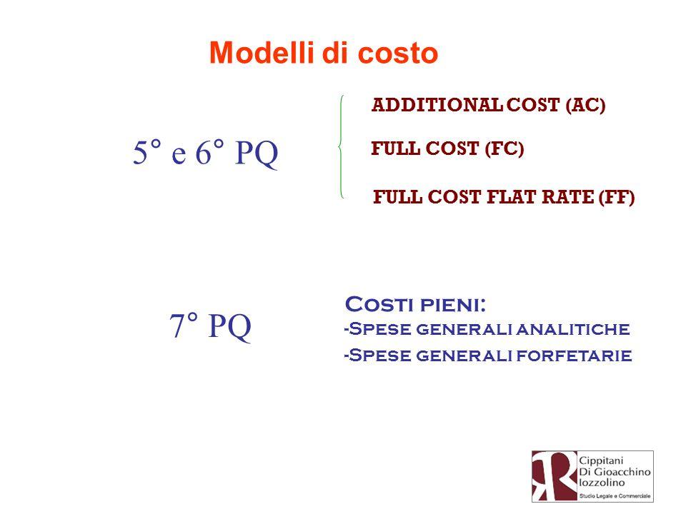 Modelli di costo 5° e 6° PQ ADDITIONAL COST (AC) FULL COST (FC) FULL COST FLAT RATE (FF) 7° PQ Costi pieni: -Spese generali analitiche -Spese generali